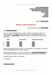 General Absence - Absence Warning Letter 1 DN