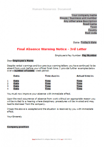 General Absence - Absence Warning Letter 3 DN
