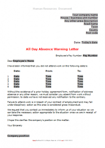 General Absence - Absence Warning Letter All Day DN