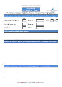 Gas Engineer Forms - Additional Information Sheet MS Word TN