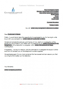 Everyday Business Forms - Complaint Receipt Letter TN