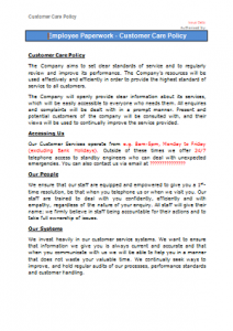 Everyday Business Forms - Customer Care Policy TN