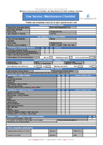 Gas Engineer Forms - Gas Service Checklist 1 Sided TN