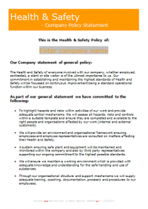 Everyday Business Forms - Health and Safety Policy - Small Company TN