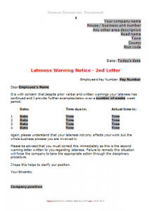 General Absence - Lateness Letter 3