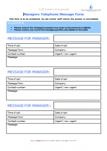 Everyday Gas Manager Forms - Managers Message Form TN