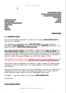 Gas Survey Forms - New Boiler Installation Confirmation Letter TN