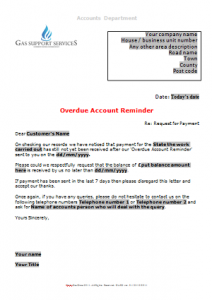 Everyday Business Forms - Overdue Account Letter - Reminder TN