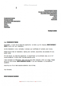Gas Survey Forms - Post Boiler Installation Letter TN