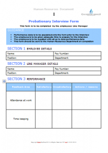 Starters and Leavers - Probationary Interview Form TN