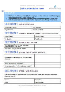 Sickness Absence - Self Certification Form TN