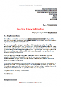 HR Templates - Sporting Injury Notification TN
