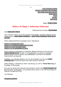 Sickness Absence - Stage 1 Sickness Interview OutcomeTN