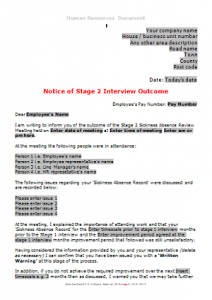 Sickness Absence - Stage 2 Sickness Interview Outcome TN