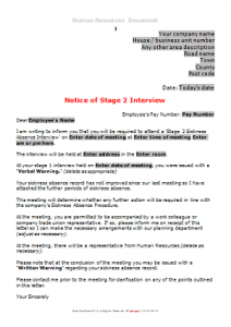 Sickness Absence - Stage 2 Sickness Interview TN