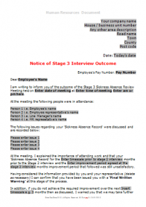 Sickness Absence - Stage 3 Sickness Interview Outcome TN