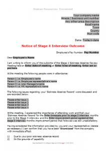 Sickness Absence - Stage 4 Interview Outcome Letter TN