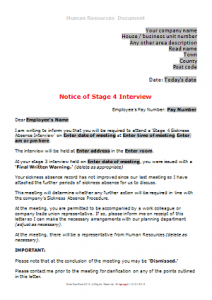 Sickness Absence - Stage 4 Notice if Interview TN