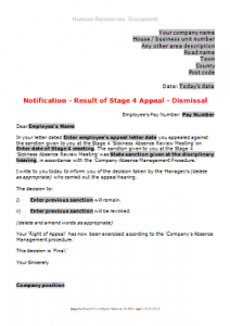 Sickness Absence - Stage 4 Result of Appeal Letter TN