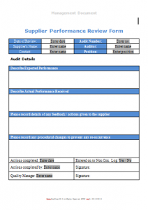 Suppliers and Stores Forms - Supplier Performance Review Form TN