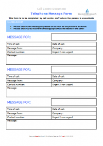 Everyday Business Forms - Telephone Message Form TN