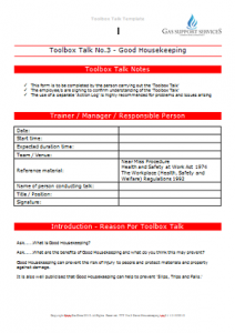 Everyday Gas Manager Forms - Toolbox Talk Good Housekeeping TN