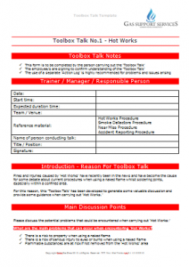 Everyday Gas Manager Forms - Toolbox Talk Hot Works TN