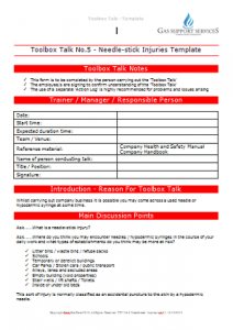 Everyday Gas Manager Forms - Toolbox Talk Needlestick Injuries TN