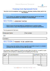 Starters and Leavers - Training Cost Agreement Form TN