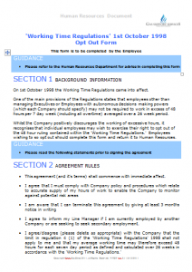 Starters and Leavers - Working Time Regulations Opt Out Form TN